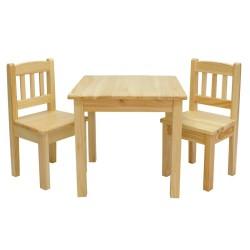 Stolik sosnowy + krzesełka sosnowe dziecięce