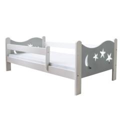 Łóżko dziecięce Gwiazdka biało - szare