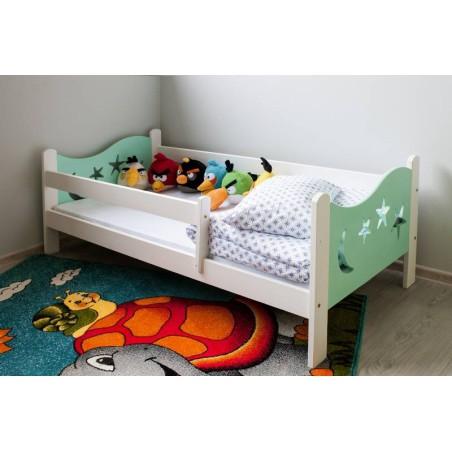 Łóżko dziecięce Gwiazdka biało-turkusowe