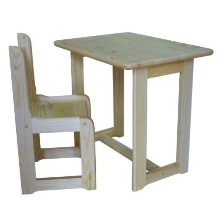 Stolik sosnowy + krzesełka sosnowe dziecięce - zestaw nr 2