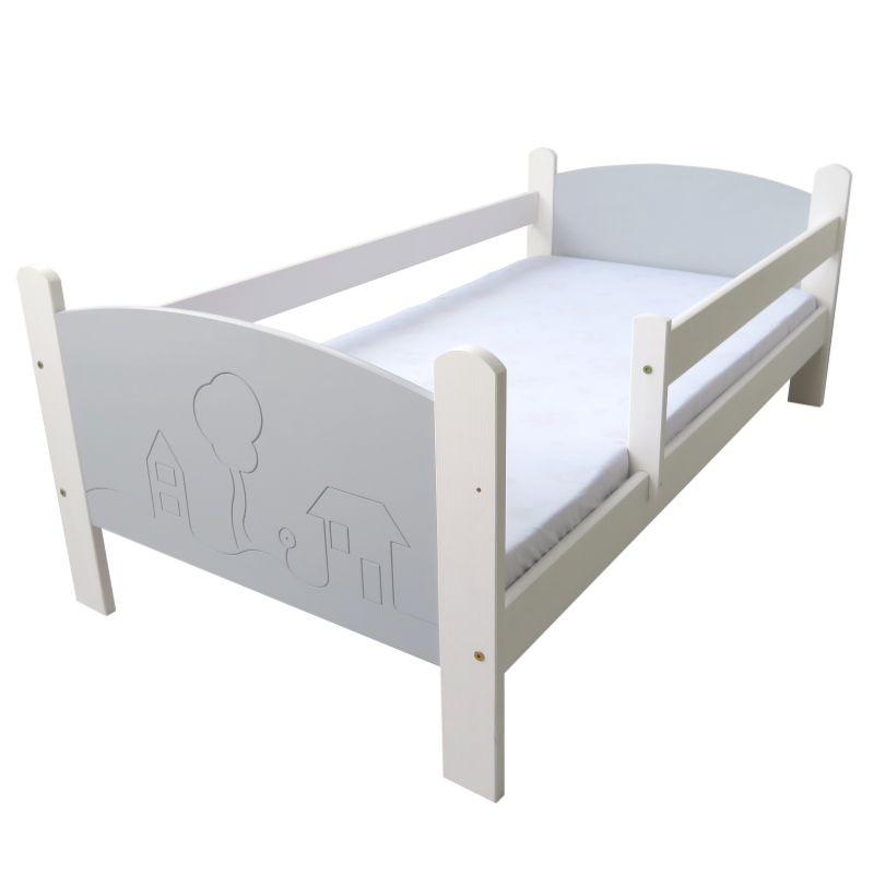Łóżko dziecięce Domki biało-szare