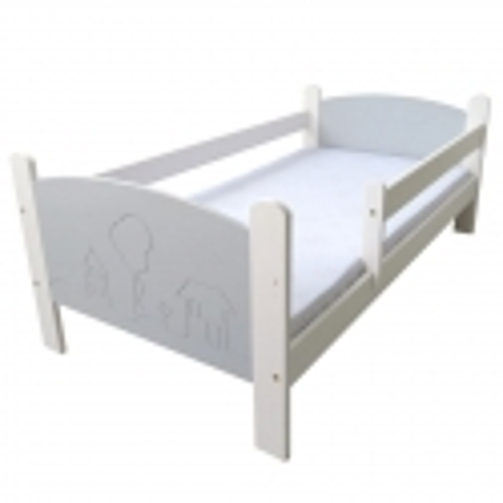 Łóżko dziecięce Domki biało - szare