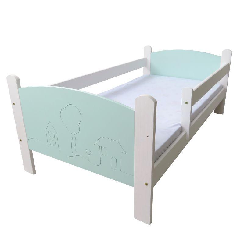 Łóżko dziecięce Domki biało-turkusowe
