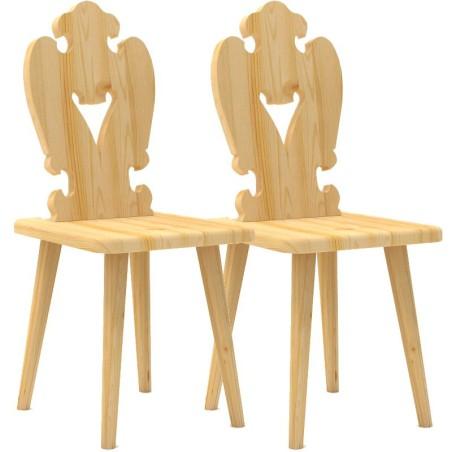 Krzesło sosnowe SERCE - komplet