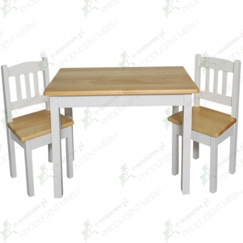 Biało - sosnowy stolik dziecięcy + krzesełka sosnowe dziecięce